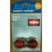 Feu arrière pour dynamo BUSCH et MULLER LED Top Light FlatSPlus Linetec 2SiMu KH EV/8, fixation sur porte-bagages