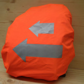 """Protège sac ou couvre sacoche fluo orange """"flèche"""""""